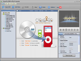 Click to view Clone2Go DVD to iPod Converter 2.5.0 screenshot