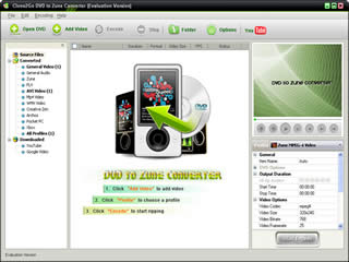 Click to view Clone2Go DVD to Zune Converter 2.1.0 screenshot